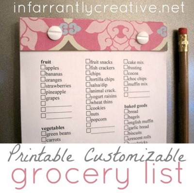 Free Printable Grocery List - customizable, too!