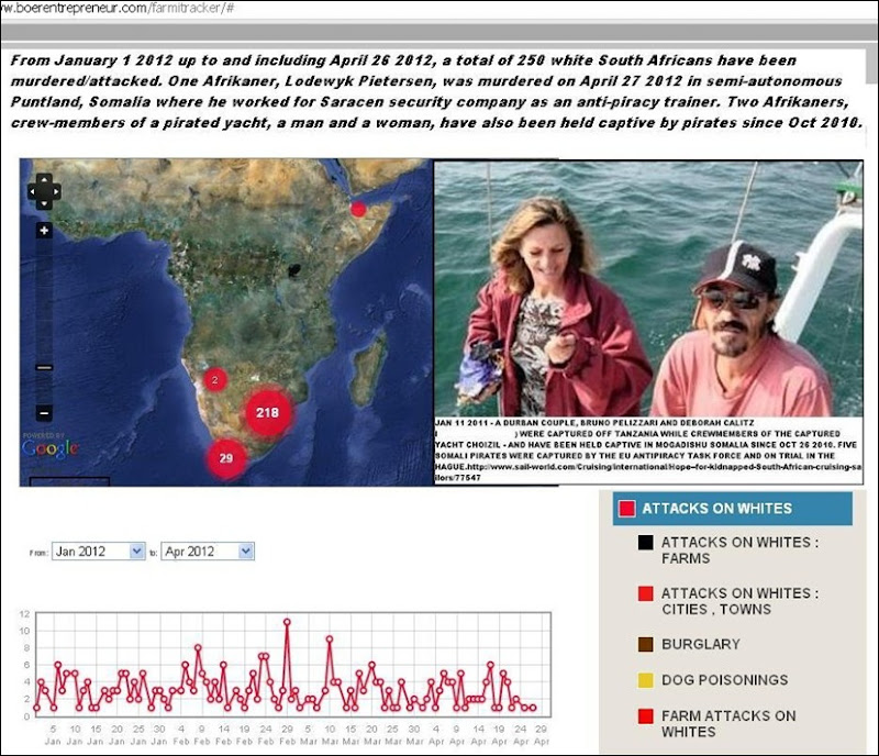 Whites murdered attacked Africa Jan 2012 through Apr 26 2012 farmitracker com