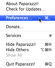 Paparazzi! Preferences… menu option