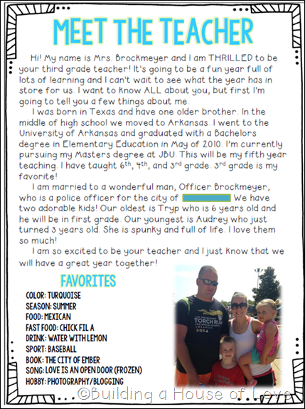 Moved permanently for Meet the teacher editable template