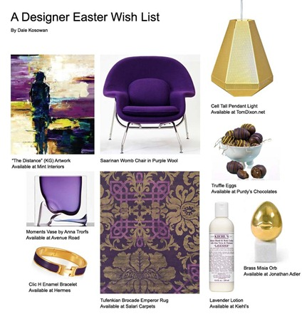 Easter interior design wish list collage furniture accessories gold purple