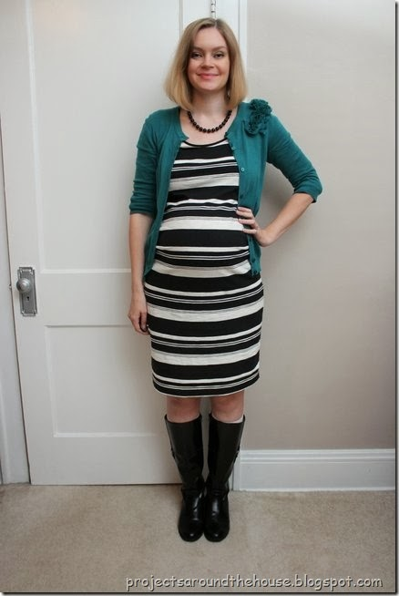 Black and white striped dress, teal cardigan