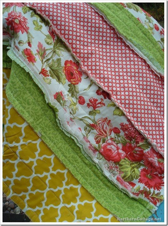 {NorthernCottage} pretty coral rag quilt throw