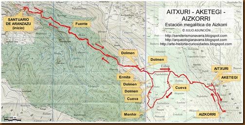 Mapa Aitxuri - Aketegi - Aizkorri - Julio Asunción