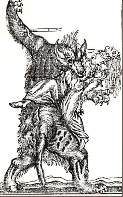 Hombre lobo en un grabado del siglo XVIII