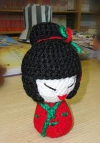 La primera Nikoke, Kokeshi de amigurumi de la Costurera Ninja