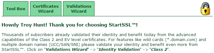 The StartSSL home screen once authenticated