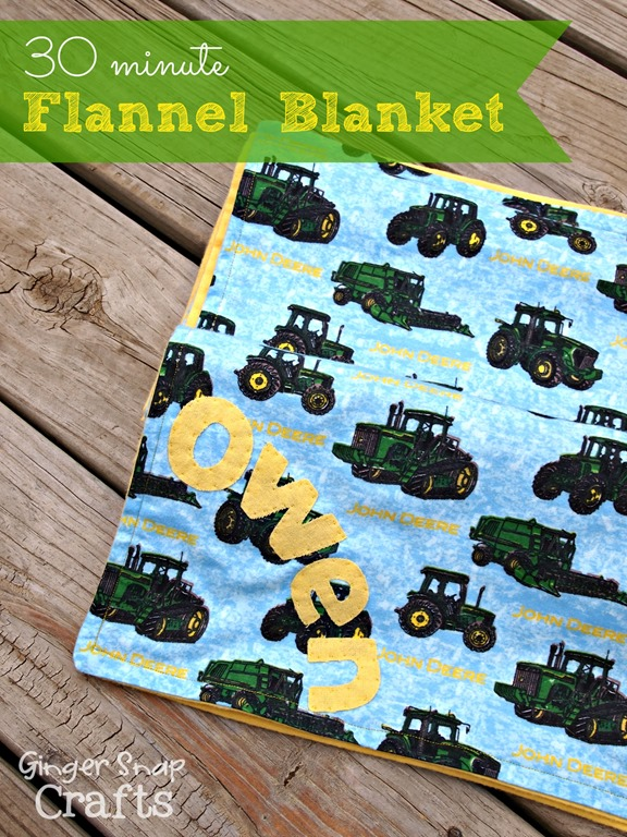 30 minute flannel blanket by GingerSnapCrafts.com
