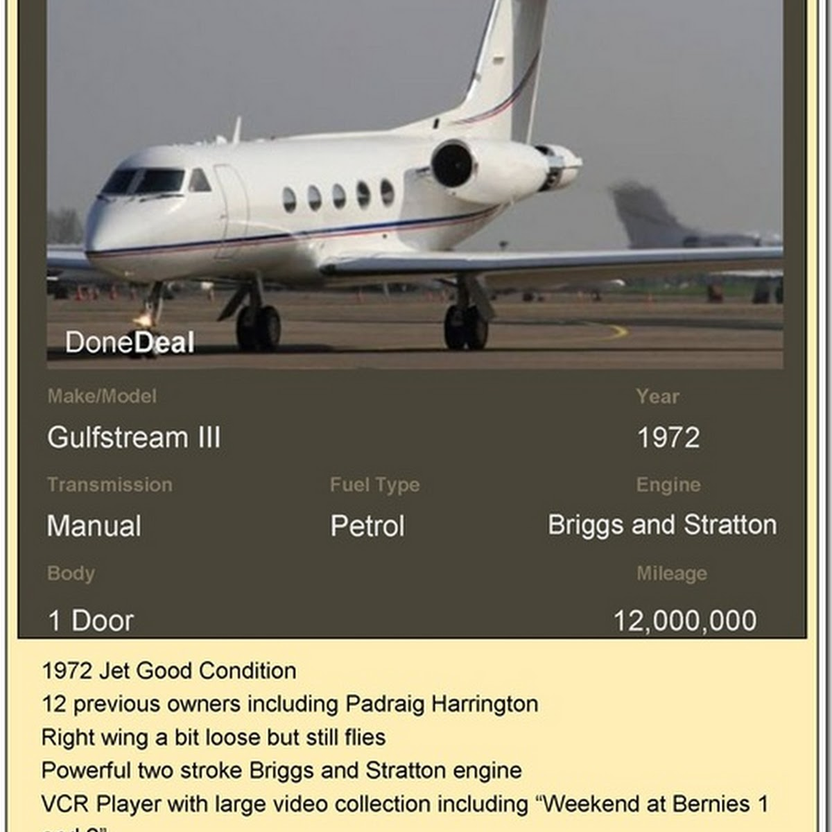 Padraig Harrington Gulfstream Jet Advert On DoneDeal