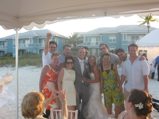 The newlyweds and I pose with the TV crew.