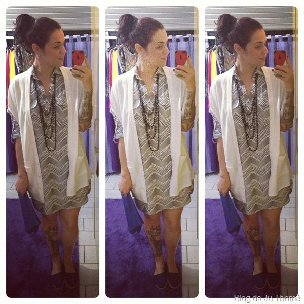 look vestido camisa preto e branco e maxi colete branco (1)