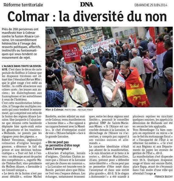 Alsàcia 3 article de la protestacion a Colmar