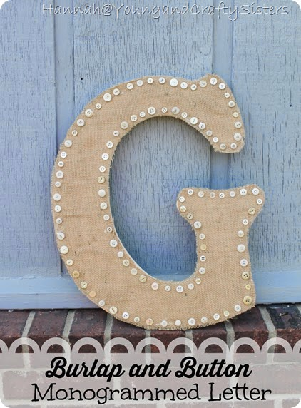 burlap and button monogrammed letter 5