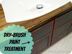 Glossy Butcher block counter with rugged dry-brushed base {Sawdust and Embryos}