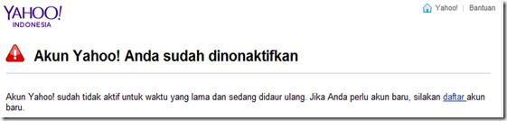 Akun Yahoo non aktif