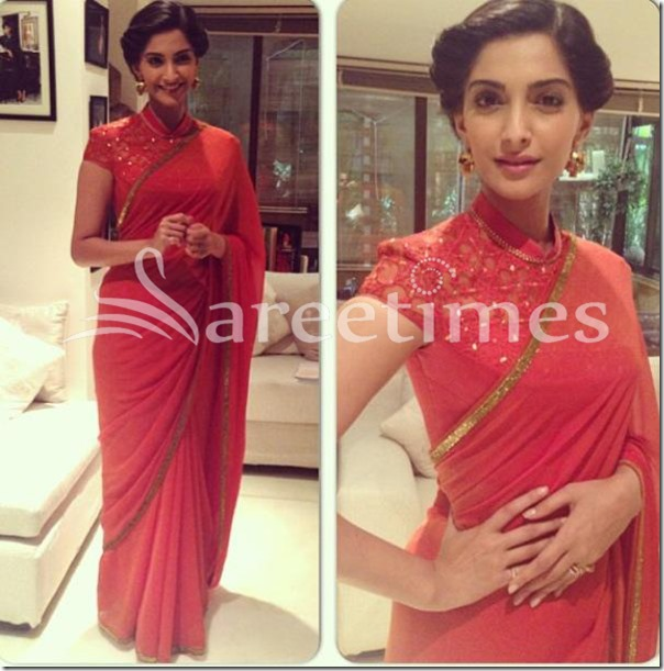 Sonam_Kapoor_Red_Plain_Saree
