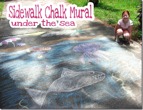 sidewalk chalk mural under the sea