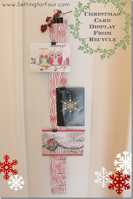 Christmas Card Display from Recycle, Setting for Four #Christmas #Card #Holiday #Recyle #DIY #Tutorial