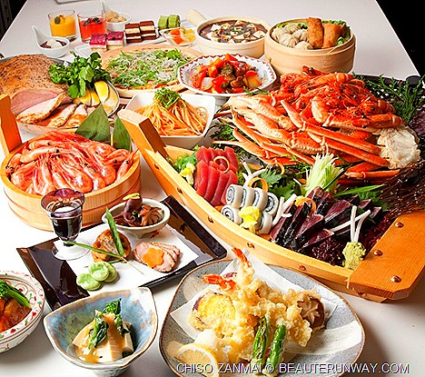 CHISOZANMAI Japanese buffet restaurant sashimi, sushi, tempura, tuna, prawns, Central, Clarke Quay desserts, chocolate fountain
