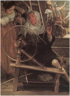 Las hilanderas (detalle). Velázquez, Museo del Prado