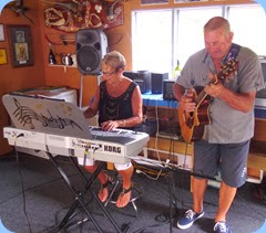 Our gracious and talented hosts, Jan and Kevin Johnston, giving one of their several mini concerts during the day and evening.