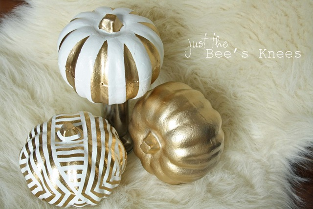 large metallic pumpkins