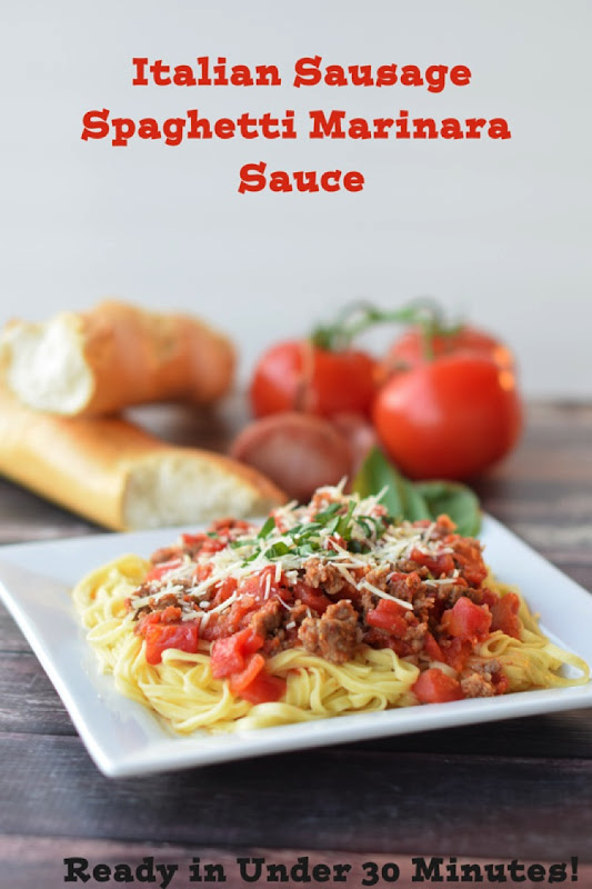Teach Me to Cook Italian Sausage Spaghetti Marinara. The perfect way to learn how to make homemade spaghetti sauce! In this learn to cook series, you will be taught everything you need to know to make the most scrumptious Italian Sausage Spaghetti Marinara Sauce. Part of the #TeachMeToCookSeries this meal is done and on the table in less than 30 minutes! WOW! #Pasta #spaghetti #homemade #Learntocook