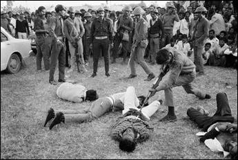 Suspected Pakistani infiltrators bayoneted by Kaderia Bahini guerrillas during the Bangladesh Liberation War, 1971