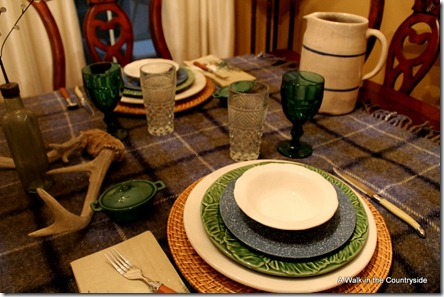a walk in the countryside: winter table using plaid blanket