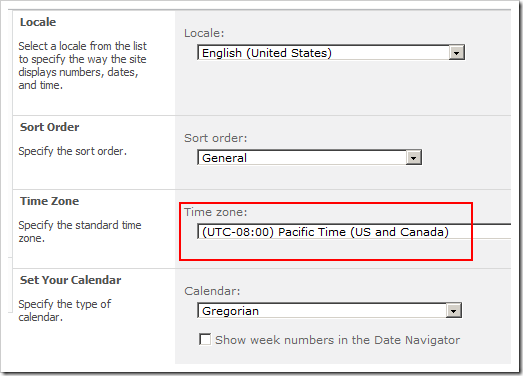 Site (SPWeb) Regional Settings including Time Zone