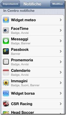 Applicazioni iPhone In Centro notifiche