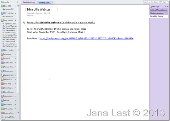 OneNote for Genealogy Research 1