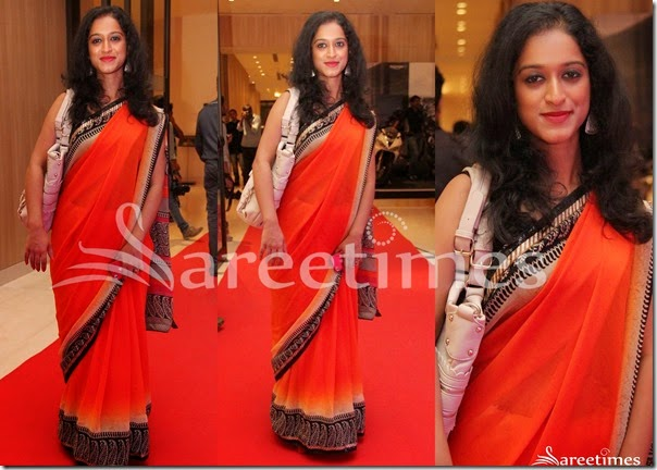 Orange_Chiffon_Saree