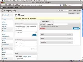 Configuration de menus pour personnaliser un thème Wordpress avec Dreamweaver