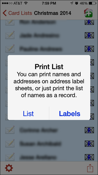 List or Labels