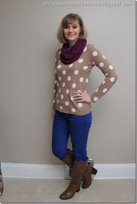polka dot sweater, cobalt skinny jeans, cognac boots