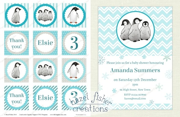 2014 December 02 penguins party printable digital designs snowflake hazel fisher creations