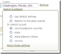 Ancestry.com can include neighboring counties or states in search results