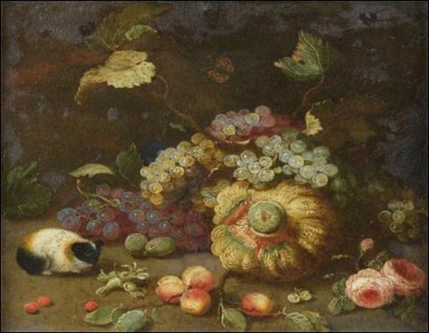 Atelier de Jan Van Bessel, Nature morte aux raisins, citrouillle et hamster