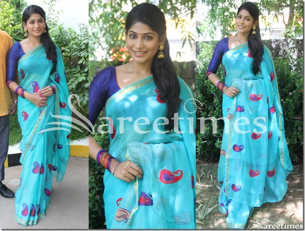 Vijaya_Lakshmi_Blue_Saree