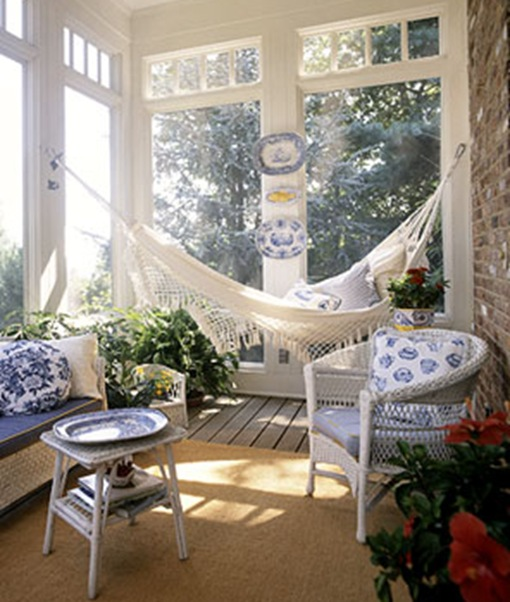 blue and white sun porch