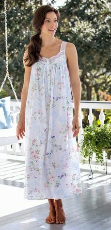 Eileen West Floral Print Nightgown   Garden of Dreams Cotton Lawn Gown