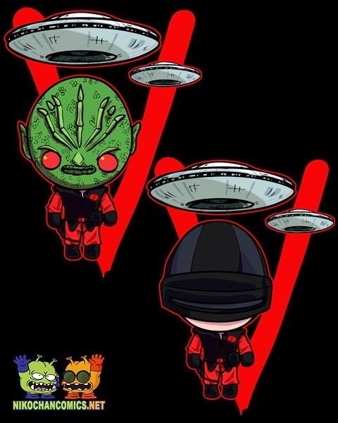 Diseños kawaii para camisetas de V los Visitantes, soldado lagarto y soldado con casco