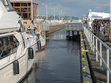 One of the Ballard locks, for moving boats between the salt water of Puget Sound and the fresh water of Lake Union and Lake Washington
