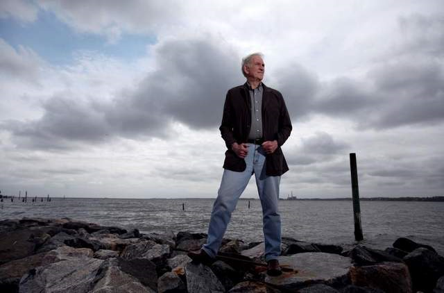 John Boon, a Virginia Institute of Marine Science oceanographer, stands near the breakwaters at Virginia Institute of Marine Science in Gloucester on 22 April 2013. Boon's 2012 study showed that the rate of rising seas is increasing along much of the East Coast. Photo: AP