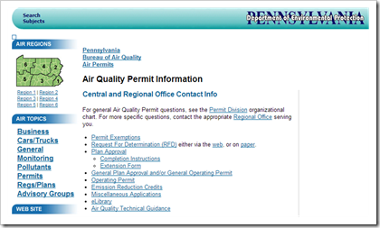 Pennsylvania Department of Environmental Protection Air Operating Permits