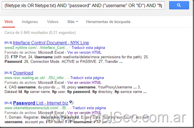 "Busqueda: (filetype:xls OR filetype:txt) AND ""password"" AND (""username"" OR ""ID"") AND ""ftp"""