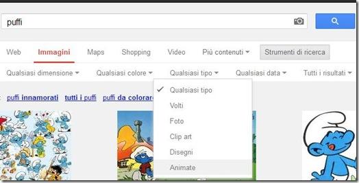 Google Immagini  trovare immagini animate