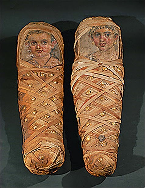 Funeral-portraits of the children of Aline             <br />(see 08-01-10/68),                                     <br />from Hawara, Fayum Osasis, Egypt.                      <br />Painted canvas (about 50 CE)                           <br />Inv. 11 412, 11 413                                    <br />