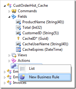 Adding a declarative business rule to a data controller in a Code On Time web application